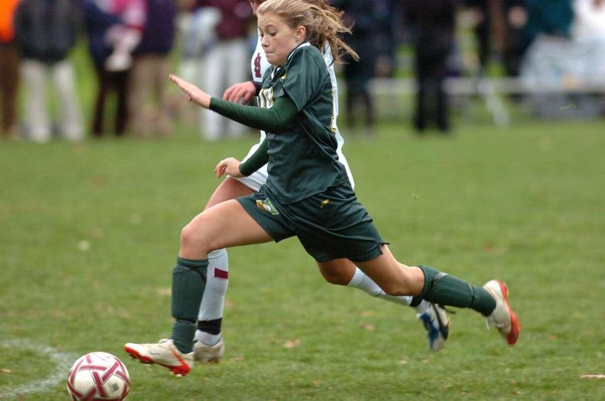 GA's Eliza Hompe powers toward the goal as Greenwich Acedemy hosts St. Lukes in the FAA girls soccer finals. GA won 2-1.