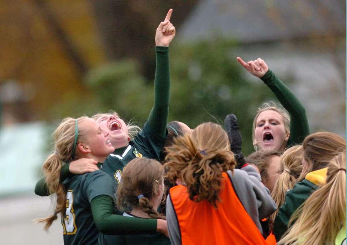 GA reacts after winning as Greenwich Acedemy hosts St. Lukes in the FAA girls soccer finals. GA won 2-1.