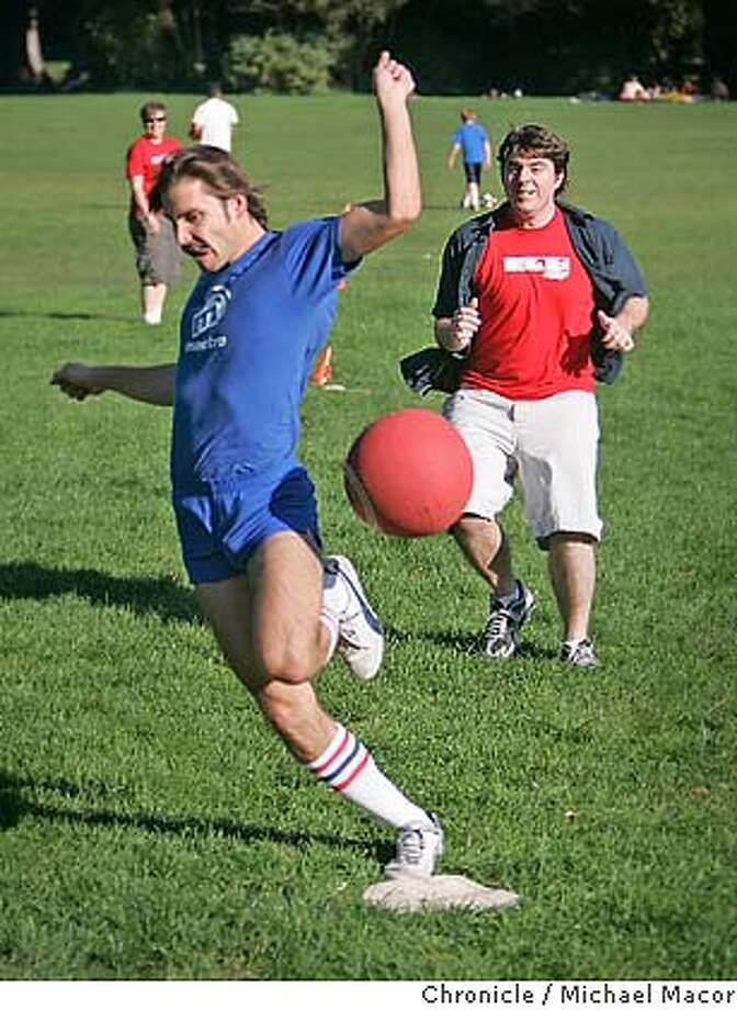 webrivalry_132_mac.jpg Dan Bragiel of the Slide.com team is out at home, nailed by James McKernan of yelp.com. Slide.com takes on Yelp.com .Two web 2.0 start ups are playing kickball against each other, as part of an ongoing monthly friendly competition. Just another sign of this generation of web 2.0 companies made up of 2-30 somethings. Event in, San Francisco, Ca, on 10/27/06. Photo by: Michael Macor/ San Francisco Chronicle Mandatory credit for Photographer and San Francisco Chronicle / Magazines Out Photo: Michael Macor