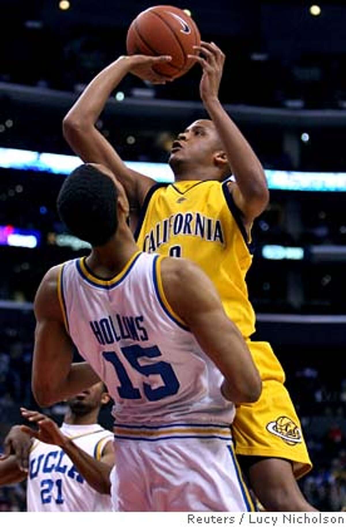 California's Omar Wilkes (R) commits an offensive foul on UCLA's Ryan Hollins during the final of 2006 PAC-10 men's basketball tournament in Los Angeles March 11, 2006. REUTERS/Lucy NicholsonRan on: 03-12-2006 Jordan Farmar of UCLA (second from left) celebrates with his teammates after UCLA defeated Cal in the finals of the Pac-10 tournament.Ran on: 03-12-2006 Jordan Farmar of UCLA (second from left) celebrates with his teammates after UCLA defeated Cal in the finals of the Pac-10 tournament. 0