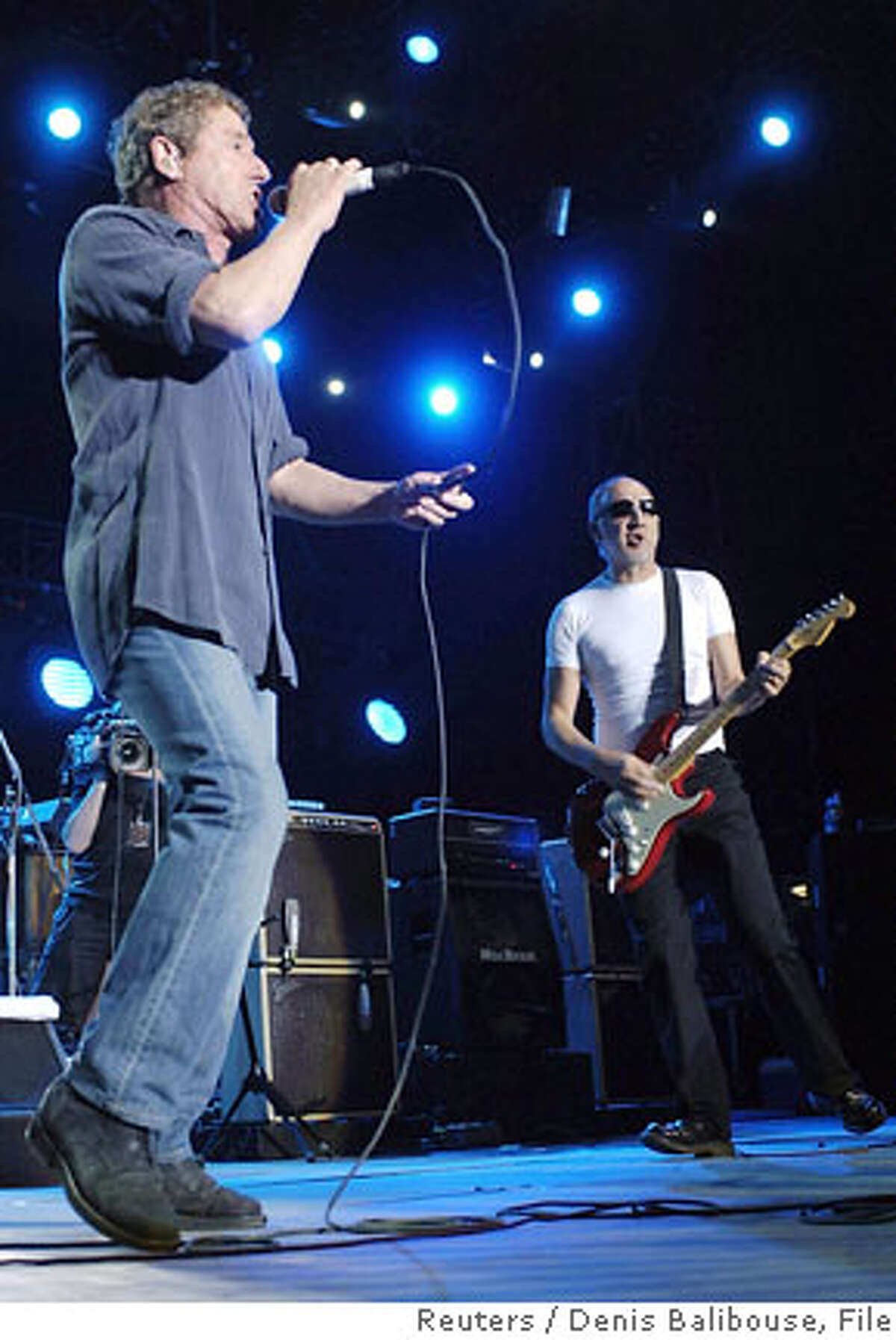 Roger Daltrey (L) and Pete Townshend from Britain's The Who perform during the Paleo festival in Nyon, Switzerland, July 21, 2006. REUTERS/Denis Balibouse (SWITZERLAND) Ran on: 08-11-2006 Roger Daltrey (left) and Pete Townshend of the Who will perform in San Jose on Nov. 8. Ran on: 11-05-2006 Keith Richards and Mick Jagger of the Rolling Stones played Boston in August 2005.