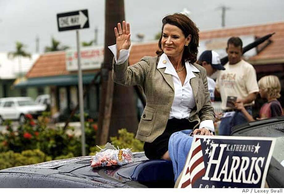 U.S. Rep. and Republican senate candidate Katherine Harris rides in the Swamp Buggy Parade on Saturday, Oct. 28, 2006 in Naples, Fla. (AP Photo/Naples Daily News, Lexey Swall) ** MAGS OUT ** MAGS OUT, FT. MYERS NEWS-PRESS OUT Photo: LEXEY SWALL