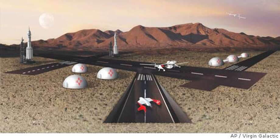 ** ADVANCE FOR SUNDAY, MAY 14 ** This undated artist rendering provided by Virgin Galactic depicts their proposed spaceport, much of which is planned to be underground, in New Mexico. The space tour operator has secured the land for the development which is one of several spaceports expected in the U.S. (AP Photo/Virgin Galactic)  Ran on: 05-21-2006  An artist rendering depicts Virgin Galatic's proposed spaceport, much of which is planned to be underground, in New Mexico. ADV FOR SUN MAY 14. UNDATED HANDOUT ARTIST RENDERING. Photo: Handout