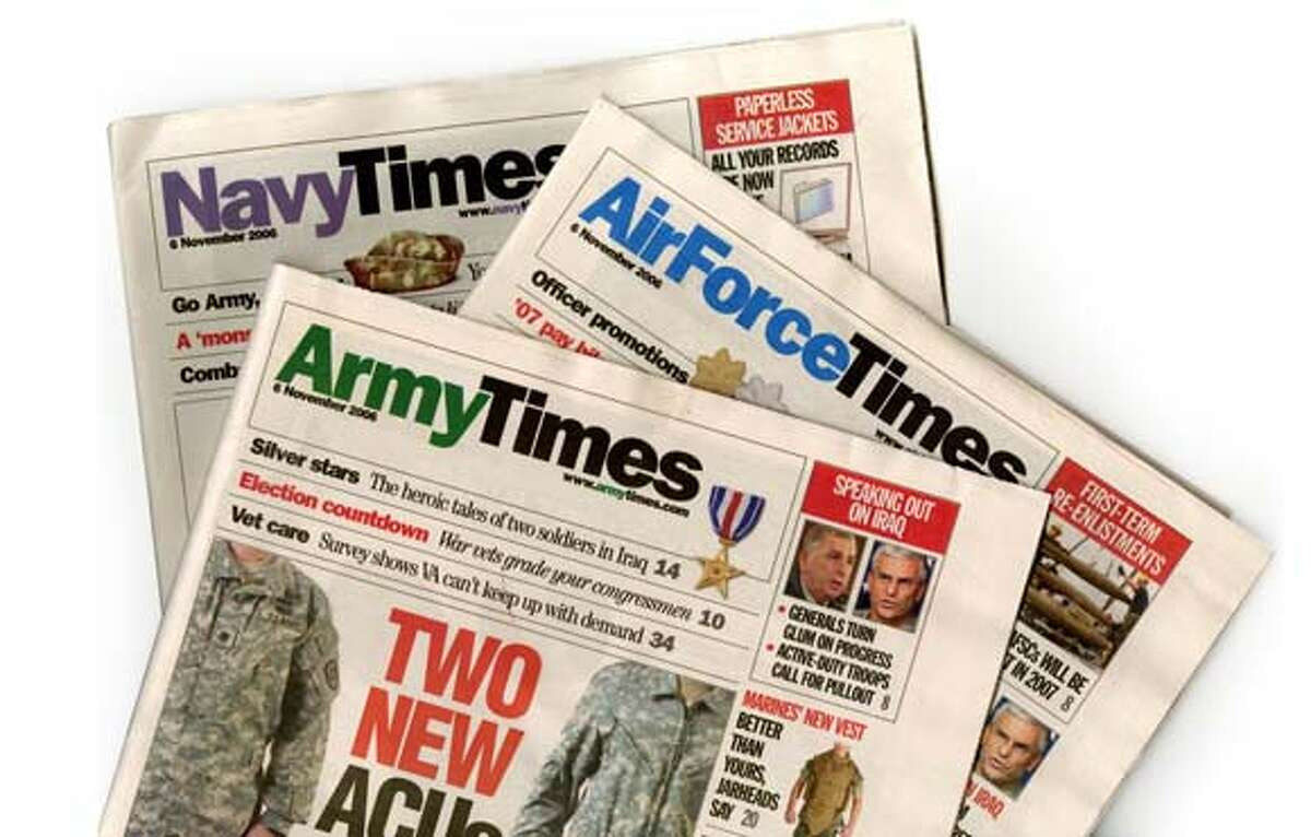 Army Times, Navy Times, Air Force Times front pages