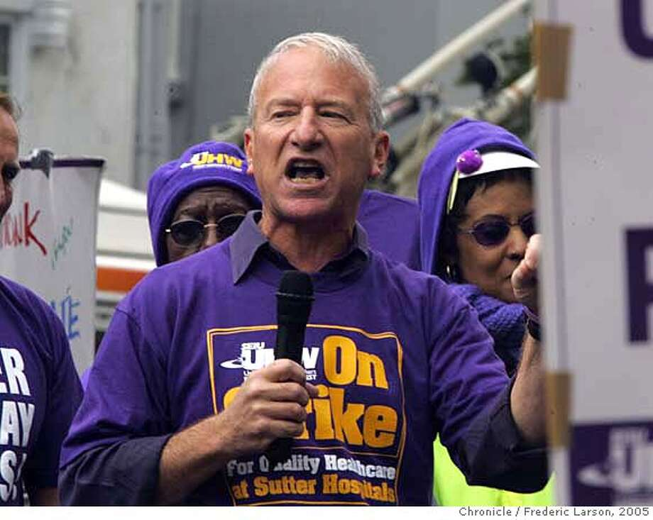 STERN_068_fl.jpg Andy Stern, the president of Service Employees International Union (SEIU) spoke to striking members of his union outside the California Pacific Medical Center in S.F., 3700 California St  9/16/05 San Francisco CA Frederic Larson The San Francisco Chronicle Photo: Frederic Larson