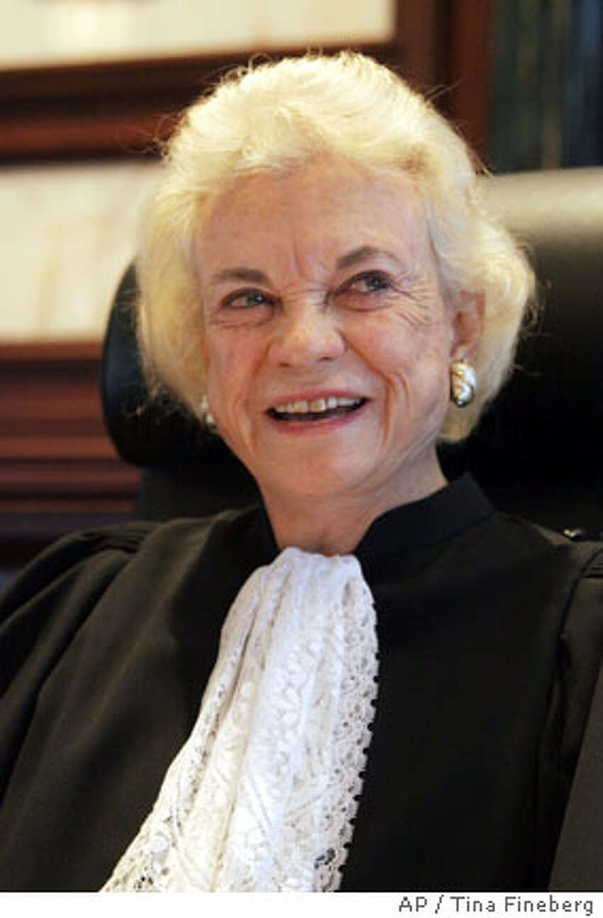 Former Supreme Court Justice Sandra Day O'Connor is seated before hearing cases on the 2nd U.S. Circuit Court of Appeals in New York, Wednesday, Oct. 11, 2006. O'Connor resigned from the Supreme Court on July 1, 2005. (AP Photo/Tina Fineberg)