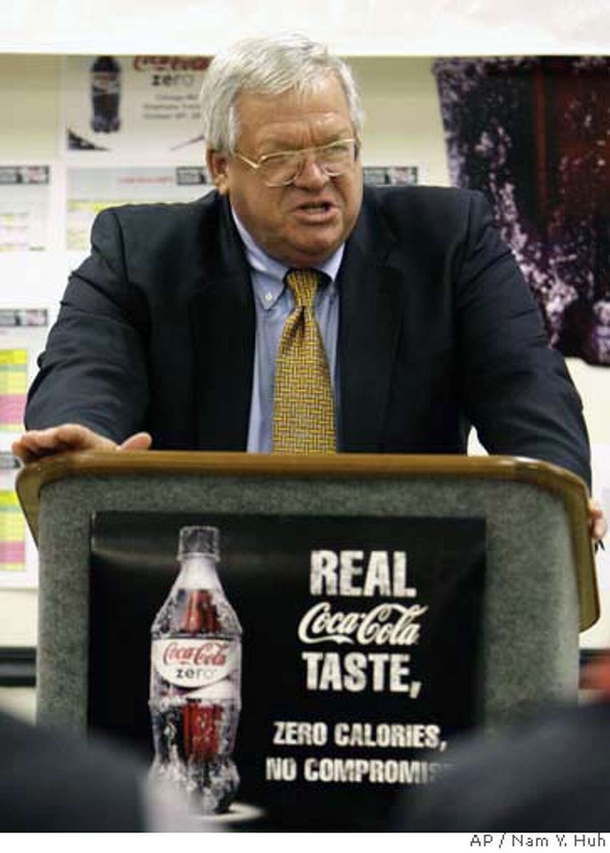 U.S. House Speaker Dennis Hastert, R-Ill., speaks to employees at the Coca-Cola Bottling Co. sales and distribution facility in St. Charles, Ill., Thursday, Nov. 2, 2006. (AP Photo/Nam Y. Huh)
