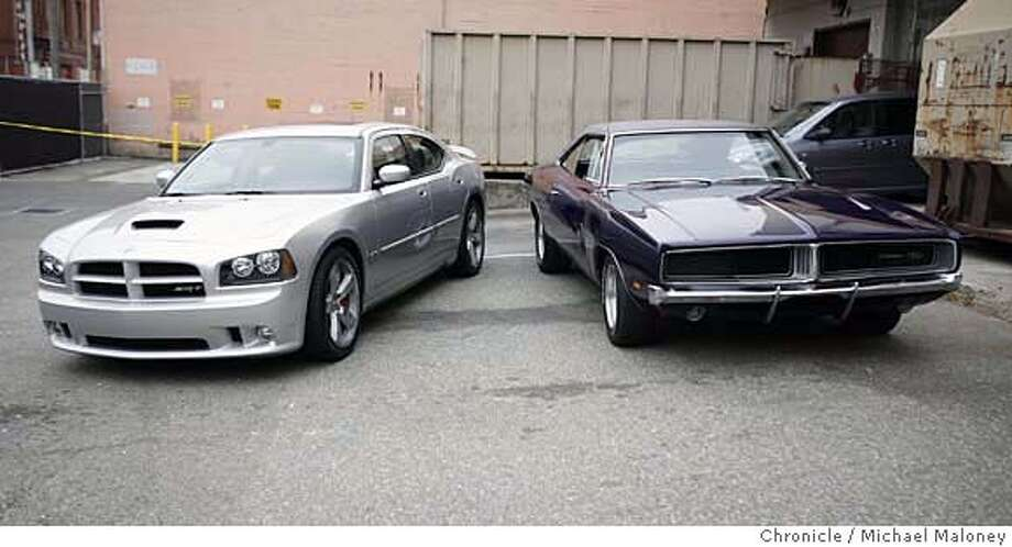 Side by side look at the new 2006 Dodge Charger along side the 1969 Charger.  Photo by Michael Maloney / San Francisco Chronicle on 9/28/06 in San Francisco,CA Ran on: 11-03-2006  The 2006 Dodge Charger resembles its 1969 predecessor (right) only in name and Hemi engine. It's just a very expensive Dodge sedan, but it's no gut-wrenching, muscle-car Charger.  Ran on: 11-03-2006 Ran on: 11-03-2006 Ran on: 11-03-2006 Photo: Michael Maloney