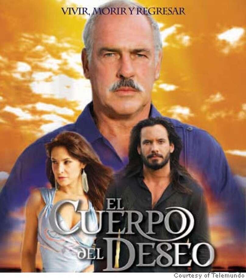 El Cuerpo del Deseo: Andr�s Garc�a (background), Lorena Rojas (Left) and Mario Cimarro (right). Credit: Courtesy of Telemundo Photo: Courtesy Of Telemundo