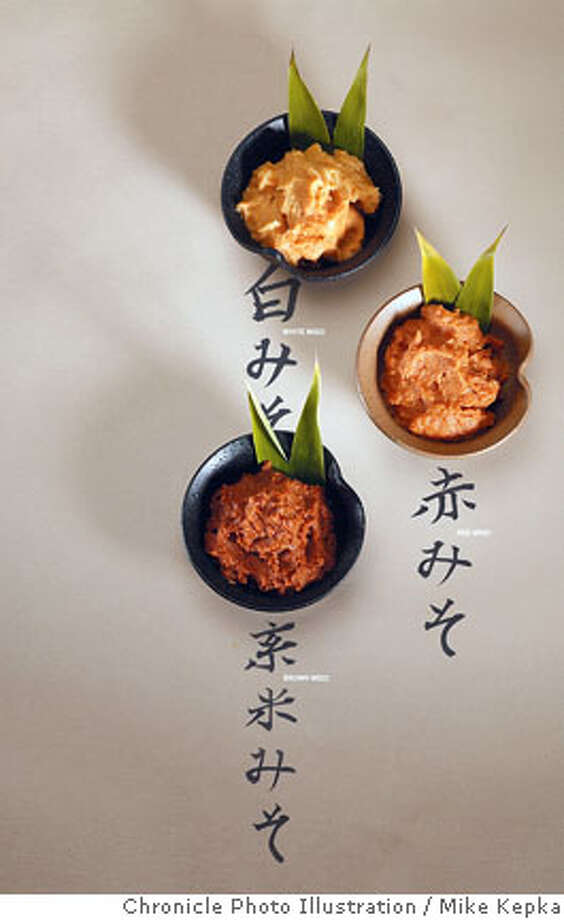 miso0100030a_mk.jpg__Three types of miso paste for the cover the San Francisco Chronicle food section._Photo taken on 10/25/06._Mike Kepka / The Chronicle____MANDATORY CREDIT FOR PHOTOG AND SF CHRONICLE/ -MAGS OUT Photo: Mike Kepka
