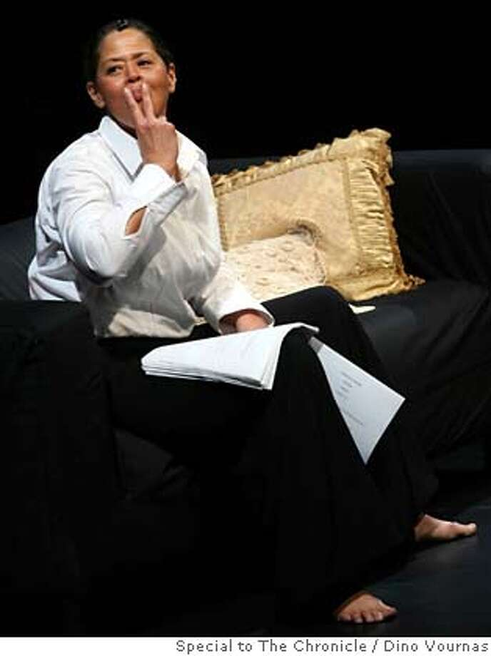 "photo by Dino Vournas 10/26/06  for the SF Chronicle Anna Deavere Smith, noted TV and stage actress and former Stanford professor, performed excerpts from a one-woman show, ""Let Me Down Easy"", at the Roble Studio Theater this evening on the Stanford campus. She impersonated persons on stage, both male and female, that she had interviewed including a champion swimmer and former rodeo cowboy. Photo: Dino Vournas"