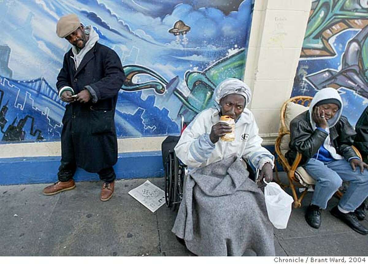 At an infamous Leavenworth Street corner in the Tenderloin, Georgia eats a little breakfast. Georgia Mitchell, a homeless woman, has lived in San Francisco for years. In recent years, a medical problem with her knee has caused her to require a wheelchair. In 2005, when the pain became unbearable she began a long medical journey, got SSI benefits, and a room inside thanks to the Care Not Cash program. In the process the city has spent hundreds of thousands of dollars to help this one homeless woman. Brant Ward5/26/04