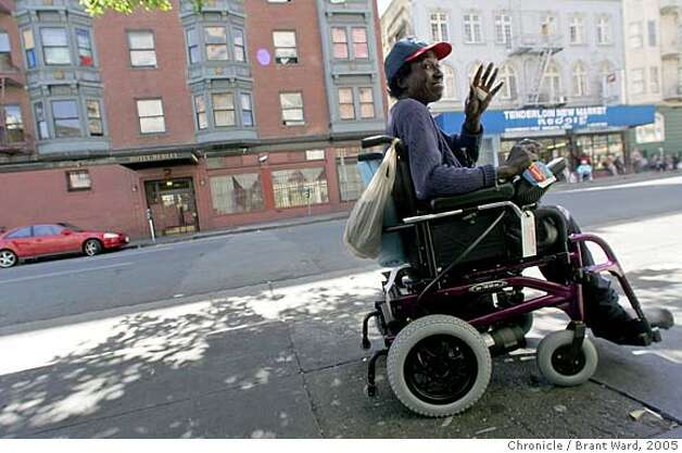Georgia has just received her new motorized wheelchair which makes getting up and down the steep hills in the Tenderloin and downtown areas easier.  Georgia Mitchell, a homeless woman, has lived in San Francisco for years. In recent years, a medical problem with her knee has caused her to require a wheelchair. In 2005, when the pain became unbearable she began a long medical journey, got SSI benefits, and a room inside thanks to the Care Not Cash program. In the process the city has spent hundreds of thousands of dollars to help this one homeless woman. Brant Ward7/28/05 Photo: Brant Ward