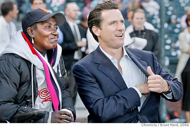 georgia147.jpg  As the San Francisco Giants salute Project Homeless Connect (a homeless services gathering), Georgia is joined by Mayor Gavin Newsom. She will throw out the first pitch, she has become a kind of postergirl for homeless in San Francisco.  Georgia Mitchell, a homeless woman, has lived on San Francisco streets for years. In the last few years a medical condition with her knee finally forced her to seek treatment. Through a series of life events she has gotten medical treatment, and gotten permanent housing. It has been a long process costing the city of San Francisco over a quarter of a million dollars.  {Brant Ward/The Chronicle} 7/31/06 Photo: Brant Ward