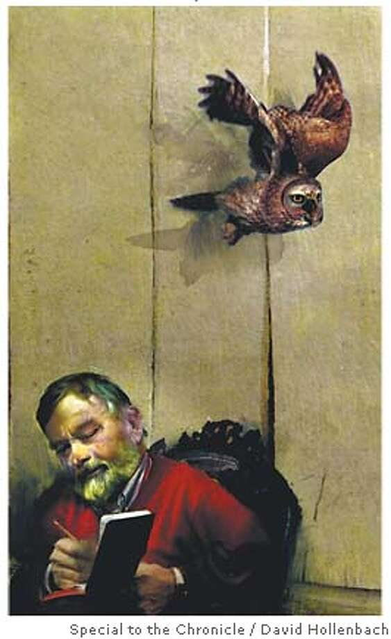 John Fowles. Illustration by David Hollenbach, special to SFGate.com