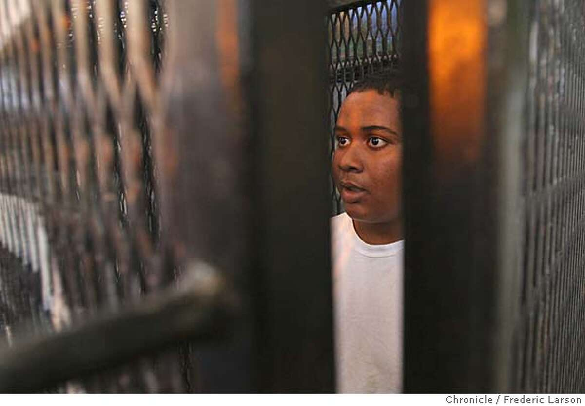 Markus Grogan (15) was lock in a holding cell for a brief while in the west block for an experience of how it feals to be confinded. The RISE (Rise to Real Choices) program took 4-young boys Matthew Bradford (15) ( dress in a shirt collar), Eddie Stringer (14) (white shirt, prison loner pants), Markus Grogan (15) (only boy in shorts) and Mario Swain (17) (black shirt) who are at-risk young black men to spend a day with violent felons at San Quentin serving life sentences at the prison.