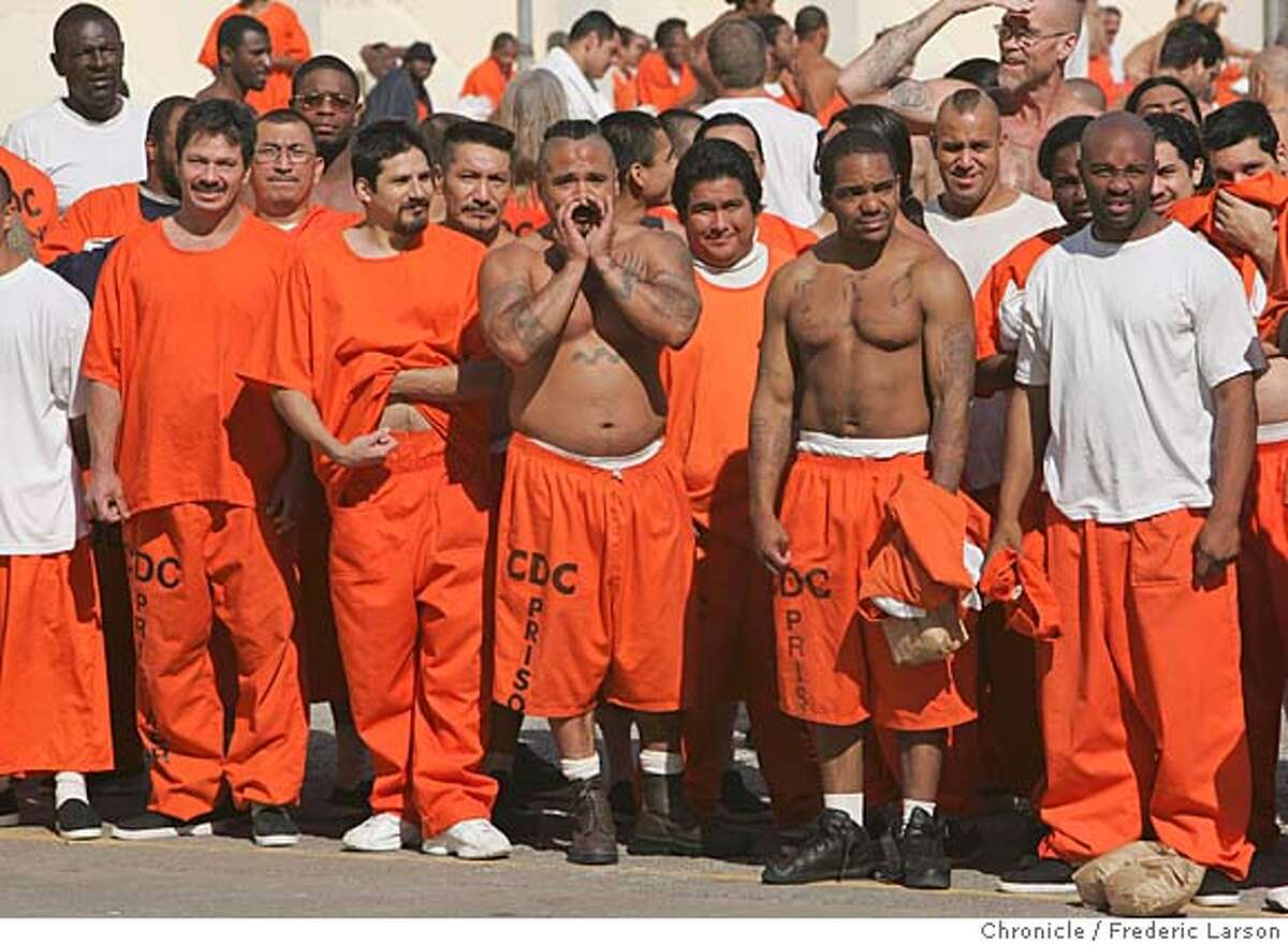 San Quentin's prisoners of the west block excerise yard gives 4-young boys who are at-risk young black men not too warm of a welcome while spending a day with violent felons at San Quentin serving life sentences at the prison. 9/22/06 { /The Chronicle}