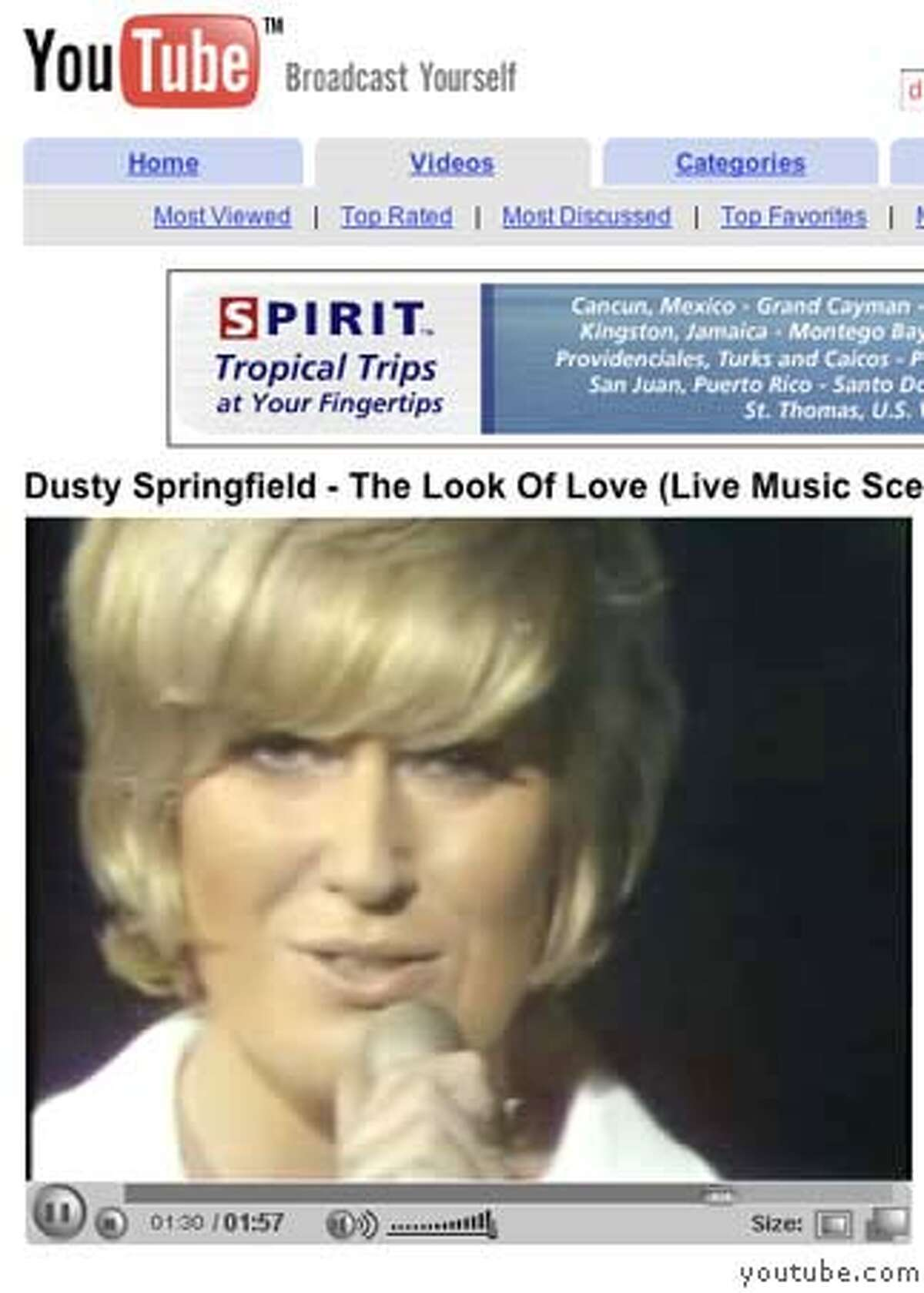 youtube24_052406_jmm018.JPG Dusty Springfield: �The Look Of Love� http://youtube.com/watch?v=TaoV3otcK-k&search=dusty%20springfield With little more than a closeup on her face, Dusty Springfield could still sell a song like nobody. These are screen grabs taken from the website youtube.com for a Joel Selvin story about the gems that can be found on the website. Event on 5/24/06 in San Francisco. Ran on: 05-30-2006 Hank Williams on The Kate Smith Show, his only known TV appearance. MANDATORY CREDIT FOR PHOTOG AND SAN FRANCISCO CHRONICLE/ -MAGS OUT