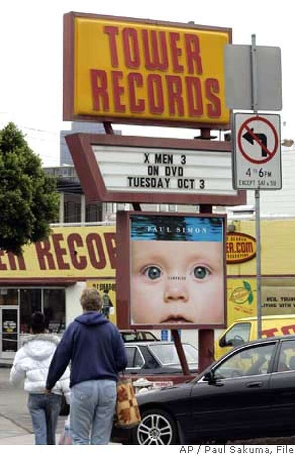 An exterior view of Tower Records store is seen in San Francisco, Friday, Oct. 6, 2006. After a lengthy auction stretching over two days, a federal bankruptcy judge on Friday approved sale of California-based Tower Records to Great American Group, which plans to liquidate the music retailer. (AP Photo/Paul Sakuma) Photo: PAUL SAKUMA