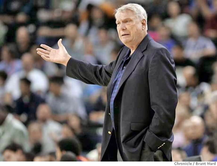warriors126.jpg  Golden State head coach Don Nelson gestures at an official during a recent exhibition game.  Exhibition game between Golden State and the Portland Trail Blazers.  {Brant Ward/The Chronicle} 10/24/06 MANDATORY CREDIT FOR PHOTOGRAPHER AND SAN FRANCISCO CHRONICLE/ -MAGS OUT Photo: Brant Ward
