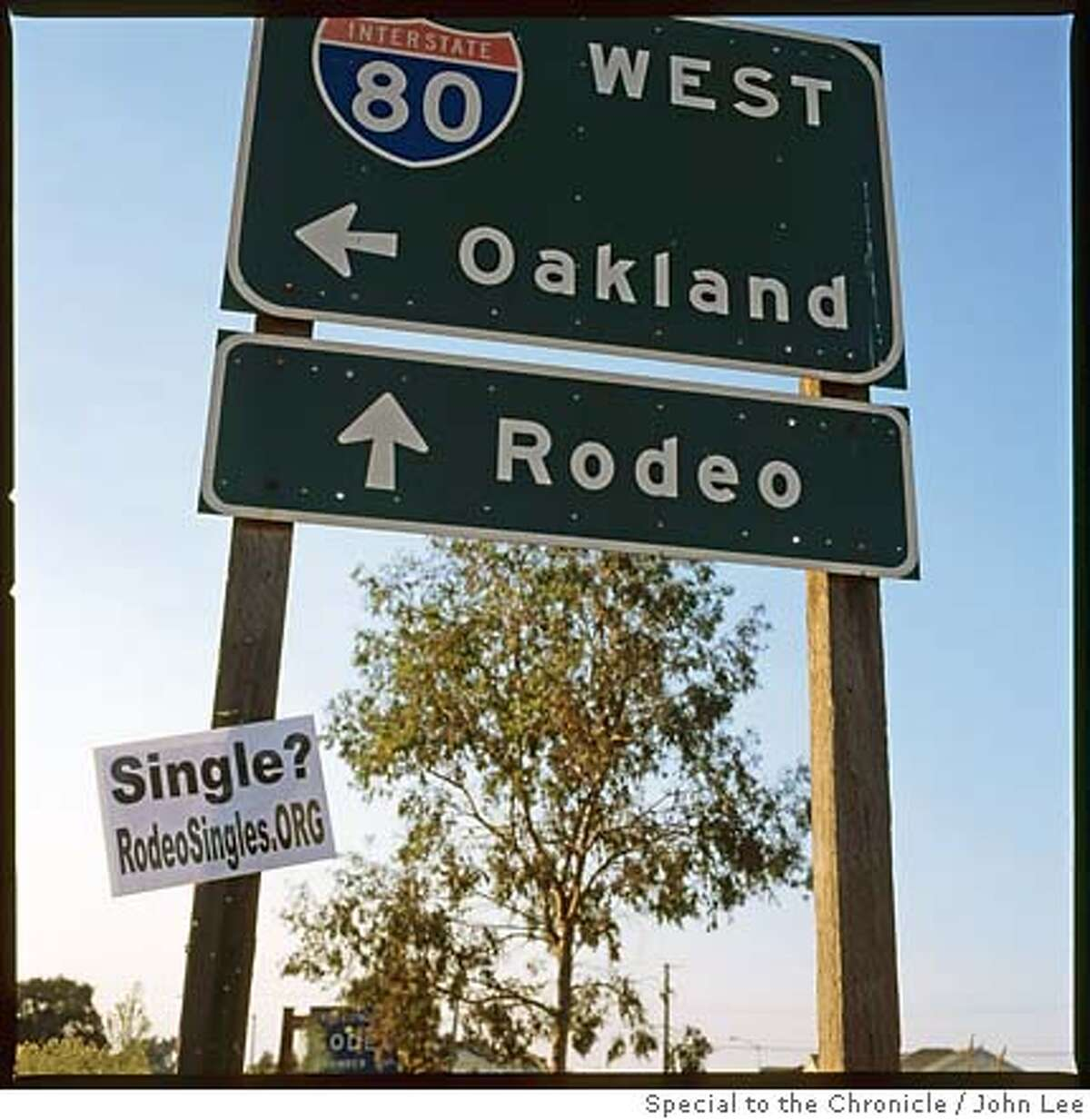 RODEO, CALIF - SEPT 11: Sign pointing to Rodeo off of the Willow exit from I-80. By JOHN LEE/