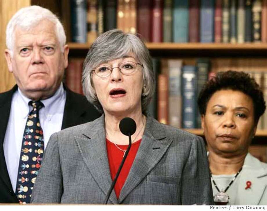 U.S. Representative Lynn Woolsey (D-CA), (C), and co-sponsors of H.Con.Res.35 hold a news conference to call for hearings in the House International Relations Committee to bring U.S. troops home from Iraq while on Capitol Hill, February 9, 2005. The resolution would express 'the sense of Congress that the president should develop and implement a plan to begin the immediate withdrawal of United States Armed Forces from Iraq.' From L-R are: Representative Jim McDermott (D-WA) and Representative Barbara Lee (D-CA). REUTERS/Larry Downing Ran on: 02-18-2005  Rep. Christopher Cox, R-Newport Beach, said members of the bipartisan group &quo;need to work together on substantive issues.'' Ran on: 02-18-2005  Rep. Christopher Cox, R-Newport Beach, said members of the bipartisan group &quo;need to work together on substantive issues.'' Ran on: 05-06-2005  Joe Nation Ran on: 06-27-2005 Ran on: 07-05-2005  Barbara Lee and Lynn Woolsey, from left, Bay Area representatives, are co-chairs of the Congressional Progressive Caucus. Ran on: 07-05-2005  Barbara Lee and Lynn Woolsey, from left, Bay Area representatives, are co-chairs of the Congressional Progressive Caucus. Ran on: 07-22-2005 Ran on: 07-22-2005  Ran on: 03-09-2006  Barbara LeeRan on: 03-09-2006 Ran on: 07-17-2006  John Boehner 0 Photo: LARRY DOWNING