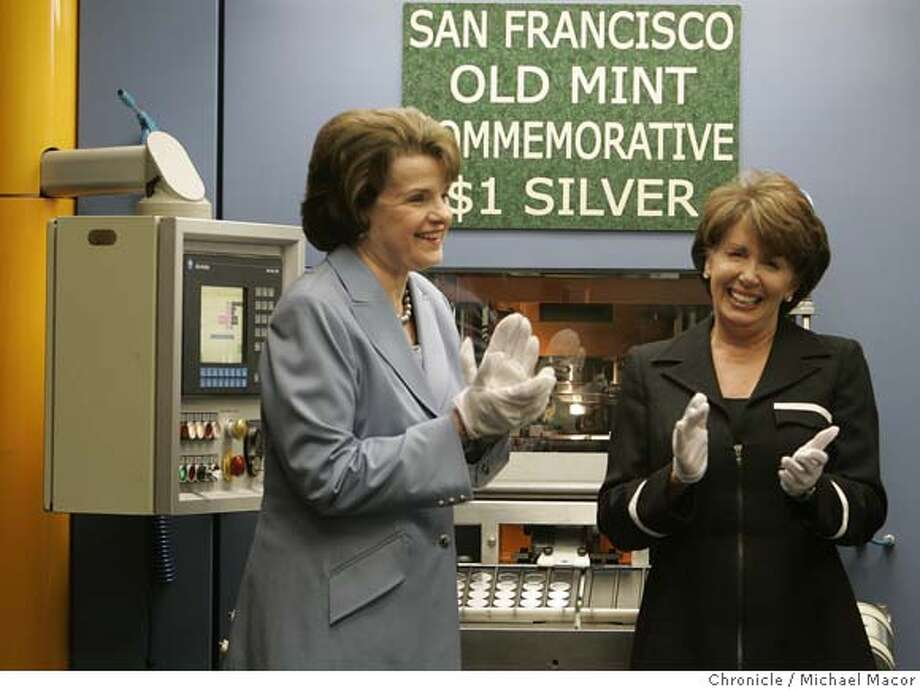 mint28_148_mac.jpg Senator Diane Feinstein, and Congresswoman Nancy Pelosi, applaud after striking the first ceremonial coin. The US MInt in San Francsico begins the production of a commemorative coin to fund the restoration of the Old US Mint in downtown. Senator Diane Feinstein and Congresswoman Nancy Pelosi join the event. Event in, San Francisco, Ca, on 10/27/06. Photo by: Michael Macor/ San Francisco Chronicle Mandatory credit for Photographer and San Francisco Chronicle / Magazines Out Photo: Michael Macor