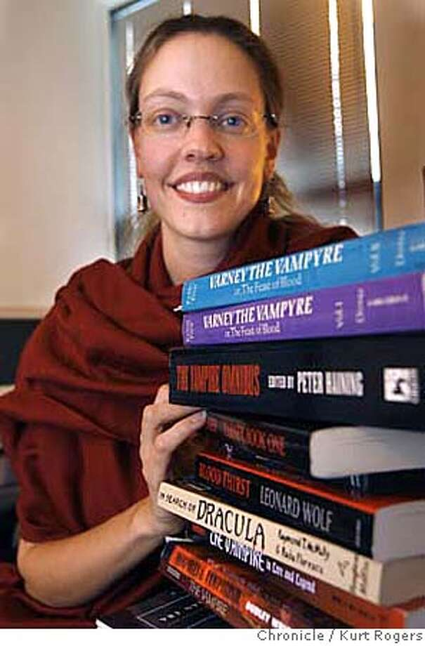Sara Hackenberg who teaches a class on literature at San Francisco State where she uses books that were written about Vampires. Sara in her SF State office.  KURT ROGERS/THE CHRONICLE SAN FRANCISCO THE CHRONICLE  SFC VAMPIRE_0010_kr.jpg MANDATORY CREDIT FOR PHOTOG AND SF CHRONICLE / -MAGS OUT Photo: KURT ROGERS/THE CHRONICLE