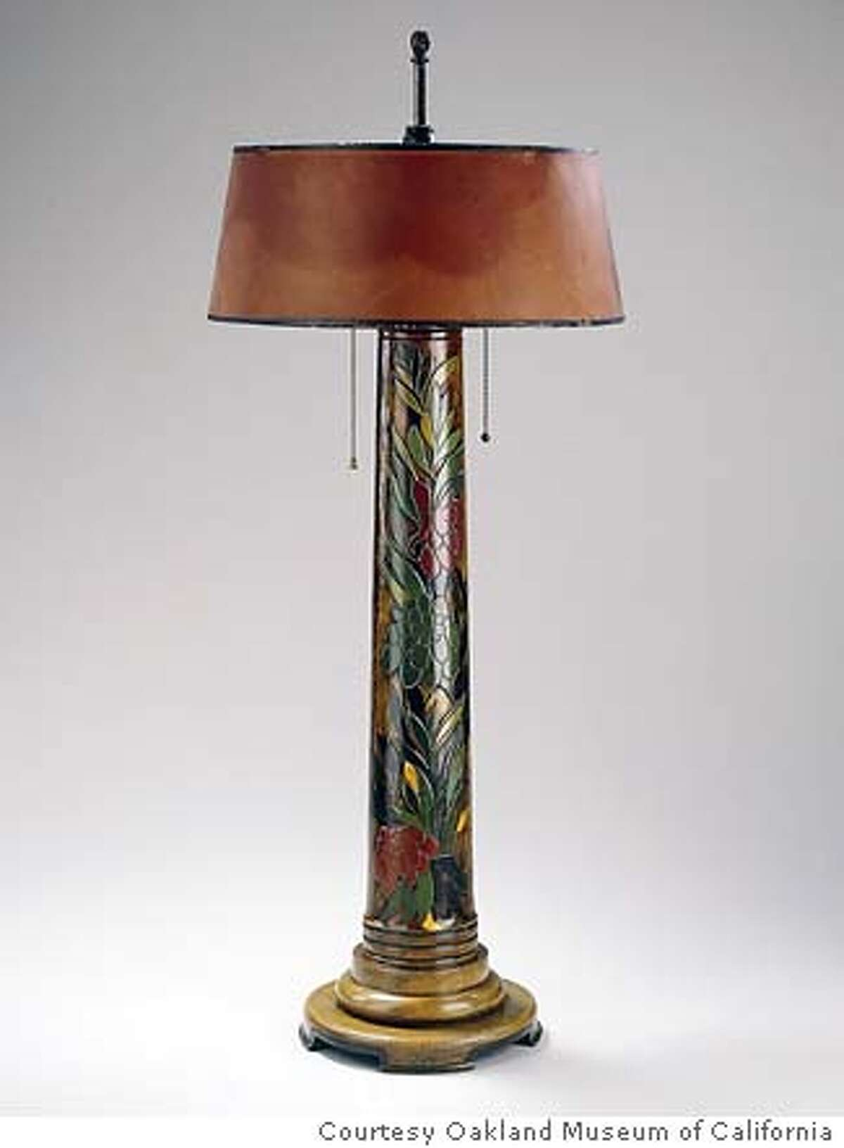 Table lamp has a base turned, etched and painted with gold leaf. Photo courtesy of the Oakland Museum of California