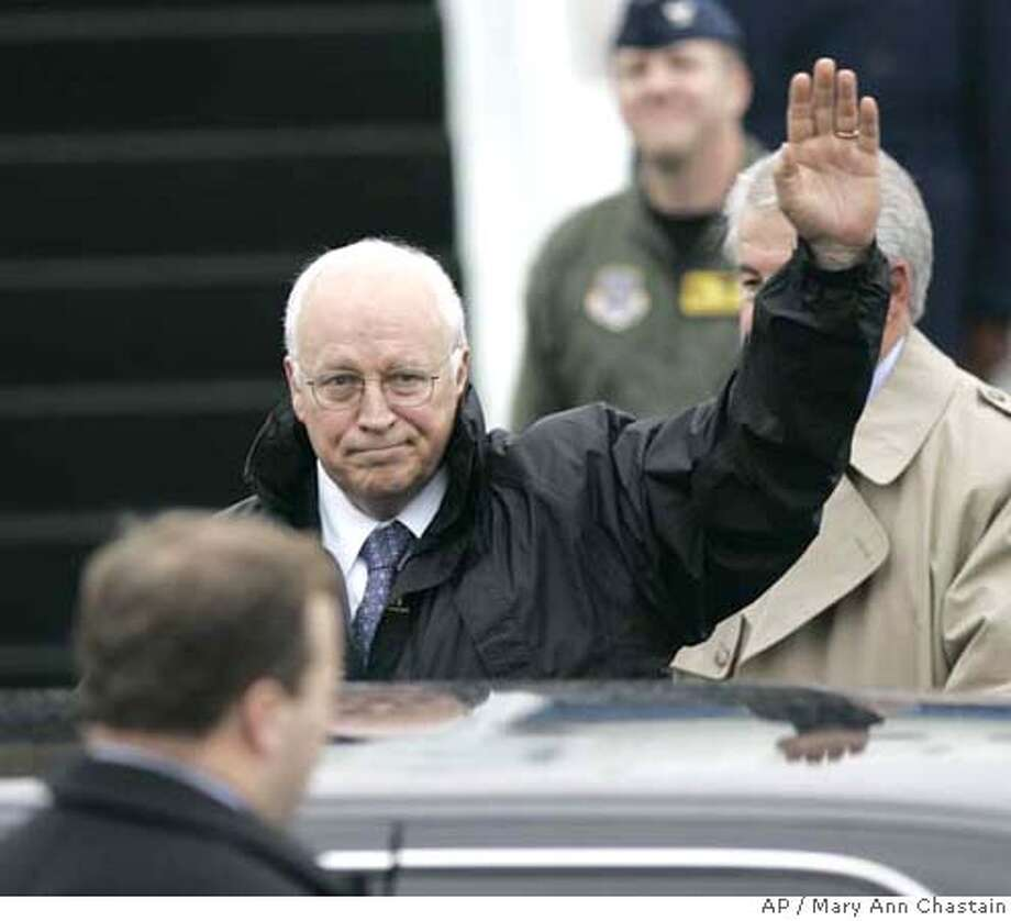 Vice President Dick Cheney arrives at Charleston Air Force Base for a fundraiser for the National Republican Committee, Friday Oct. 27, 2006, in North Charleston, S.C. (AP Photo/Mary Ann Chastain) Photo: MARY ANN CHASTAIN