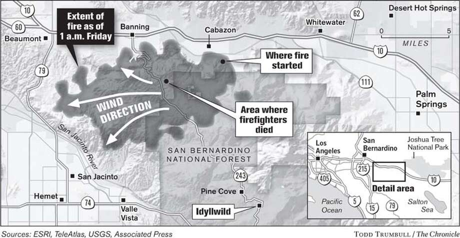 The Esperanza Fire. Chronicle graphic by Todd Trumbull