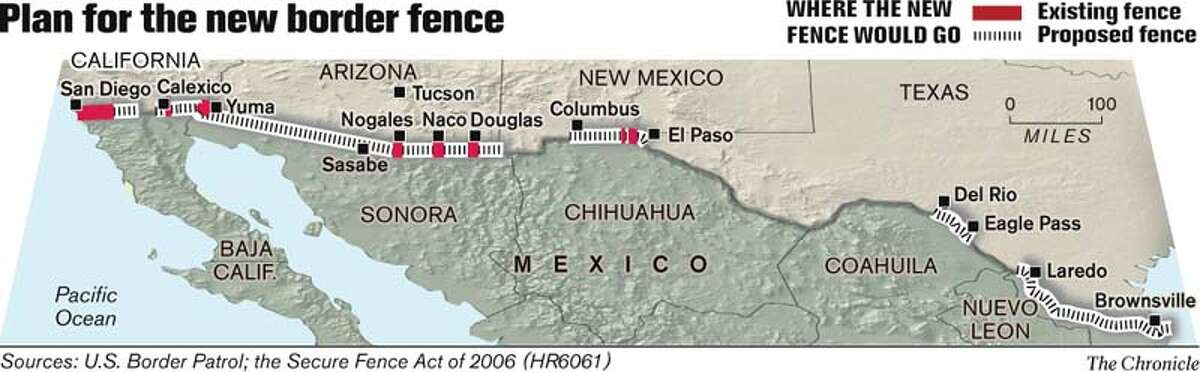 Plan for the new border fence. Chronicle Graphic