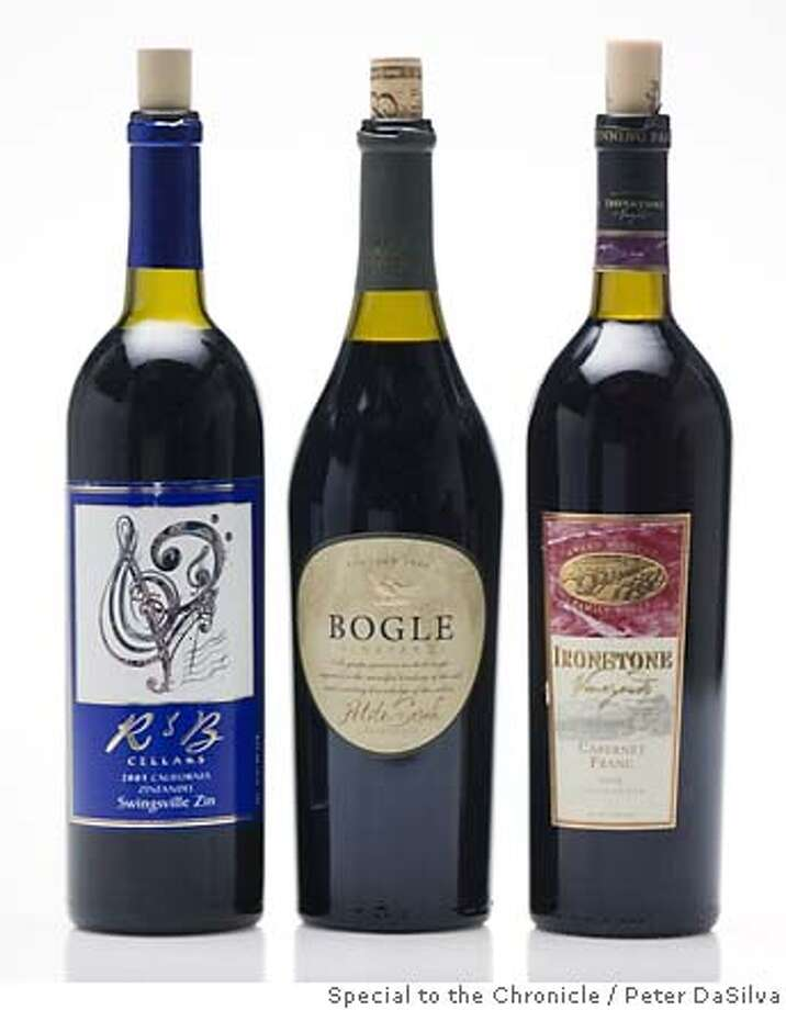 BARGAIN13_14.jpg 2003 R&B Cellars California Zinfandel, 2004 Bogle Vineyards California Petite Sirah & 2003 Ironstone Vineyards Ca;lifornia Cabernet Franc. Event on 10/5/06 in San Francisco. Peter DaSilva / The Chronicle MANDATORY CREDIT FOR PHOTOG AND SF CHRONICLE/ -MAGS OUT Photo: Peter DaSilva
