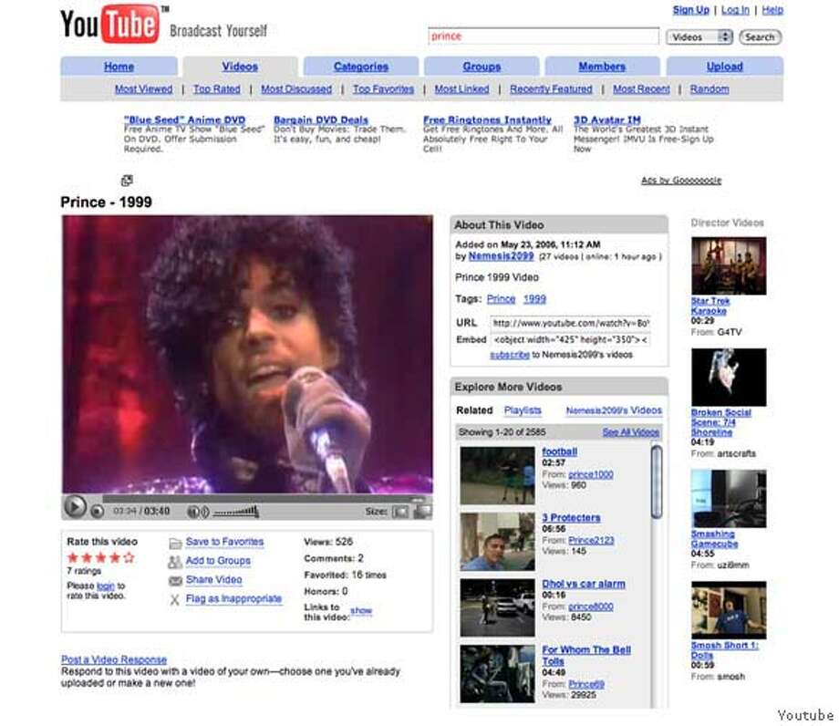"Prince video for the song ""1999"" shown playing on on YouTube.com. CREDIT: FRAME GRAB FROM YOUTUBE.COM. Ran on: 05-30-2006  Hank Williams on &quo;The Kate Smith Show,&quo; his only known TV appearance. Photo: Youtube"