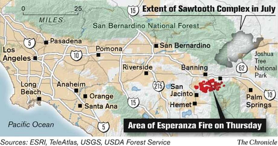 Esperanza Fire. Chronicle Graphic
