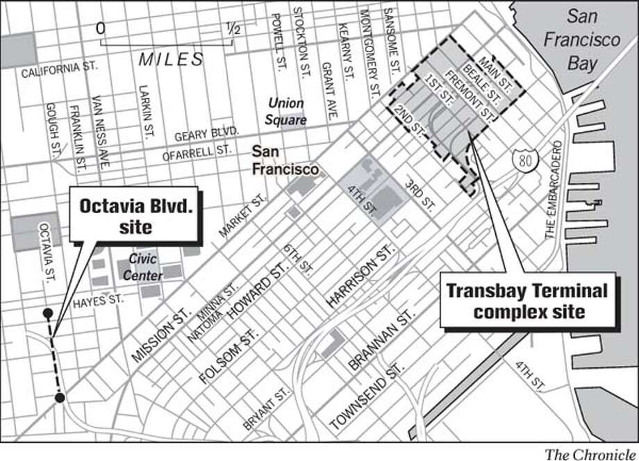 Transit hub, Octavia sites. Chronicle Graphic