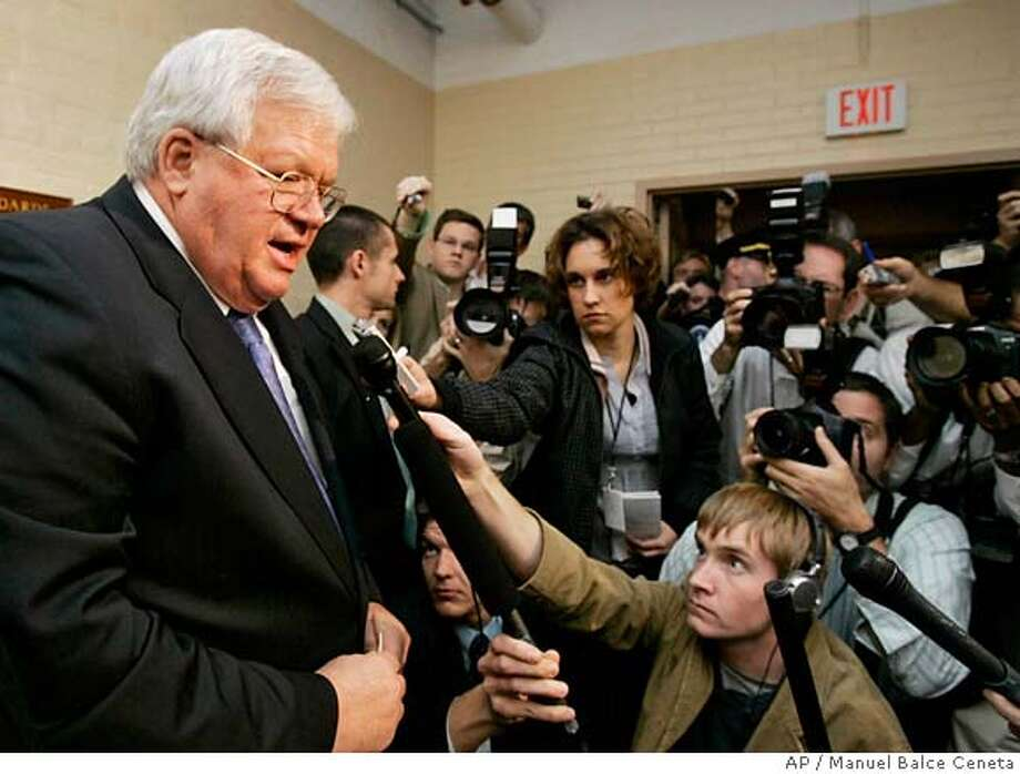 House Speaker Dennis Hastert of Ill. makes a statement on Capitol Hill in Washington, Tuesday, Oct. 24, 2006 after his appearance before the House Ethics Committee. (AP Photo/Manuel Balce Ceneta) Photo: MANUEL BALCE CENETA