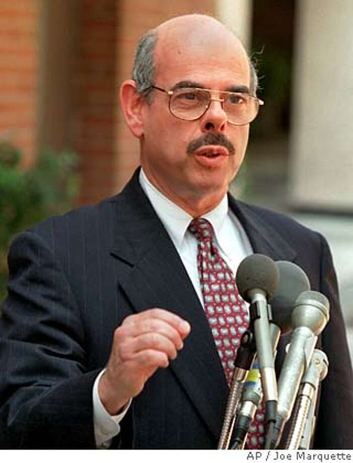 """Rep. Henry Waxman, D-Calif. speaks outside CBS television studios in Washington, Sunday, July 30, 1995 following his appearance on CBS' """"Face the Nation.""""(AP Photo/Joe Marquette) He wants mandatory rules on tobacco access for minors. ALSO RAN: 3/11/97, 4/25/97, 5/14/02, 7/18/02 CAT Ran on: 08-18-2004  Rep. Henry Waxman says the Pentagon is giving Vice President Dick Cheney's former firm special breaks. Ran on: 02-25-2005  Thomas Davis Ran on: 02-25-2005  Thomas Davis ##Chronicle##ALL### Photo: JOE MARQUETTE"""