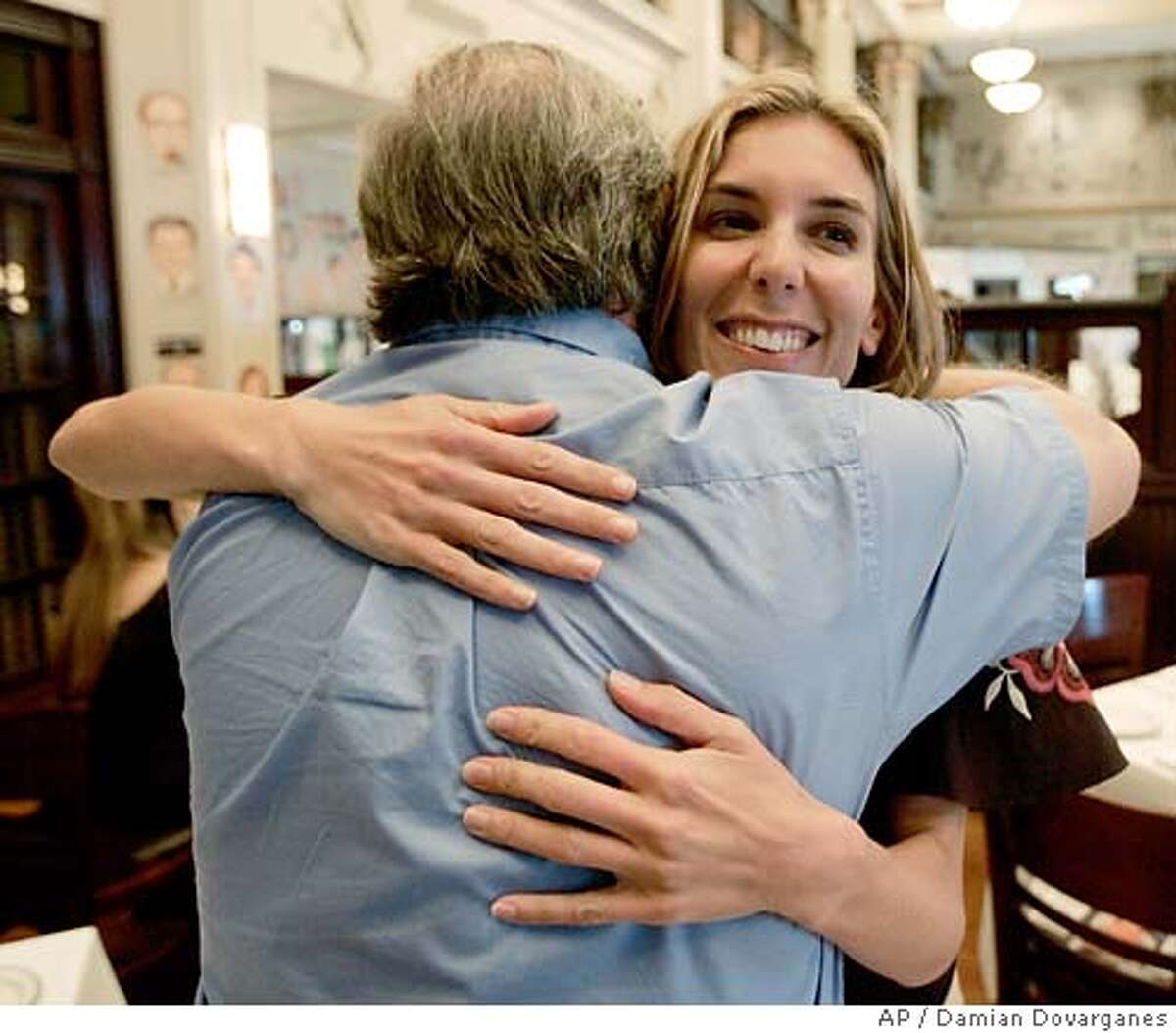 Documentary filmmaker Amy Berg is hugged by an unidentified relative of an alleged victim of clergy abuse Wednesday, Sept. 27, 2006, after a screening of her documentary,