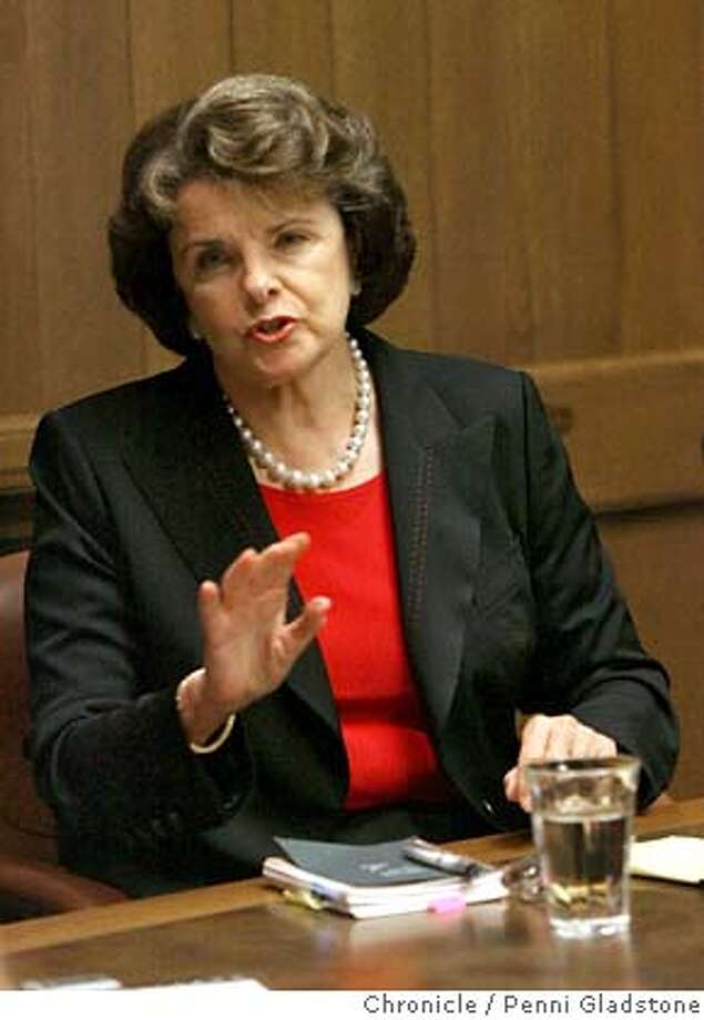 United States Senator Dianne Feinstein talks to editorial board at the SF Chronicle.  Event on 10/23/06 in San Francisco.  Penni Gladstone / The Chronicle MANDATORY CREDIT FOR PHOTOG AND SF CHRONICLE/ -MAGS OUT Photo: Penni Gladstone