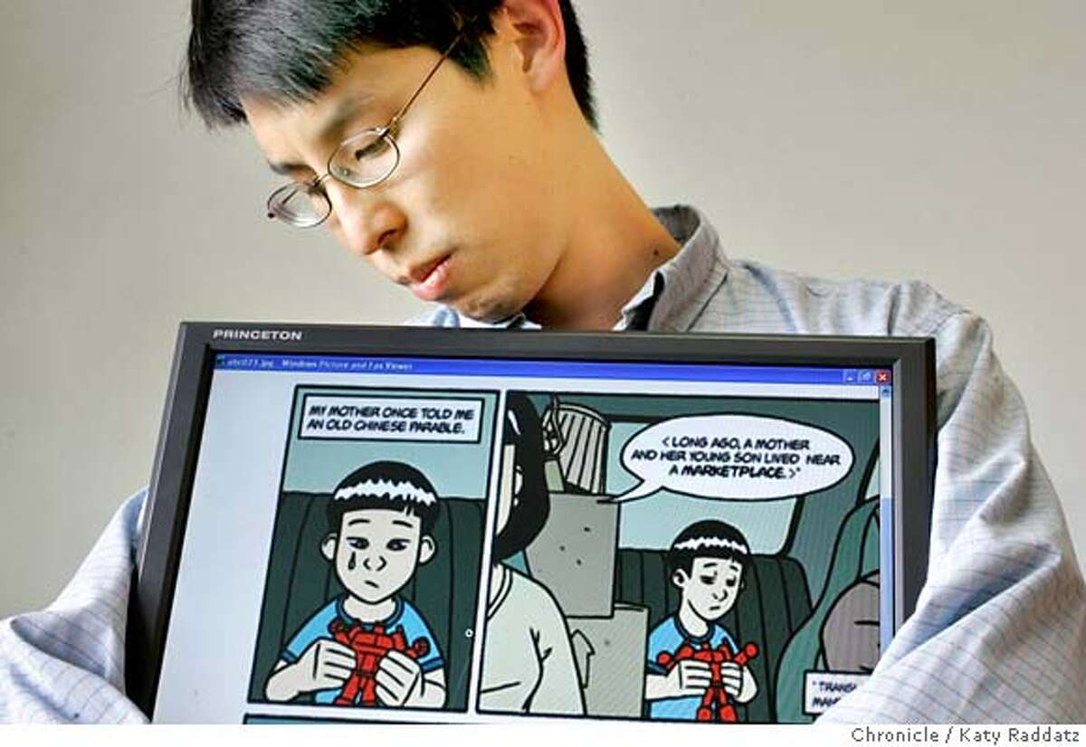 """YANG_041_RAD.jpg Gene Luen Yang, the author of """"American Born Chinese,"""" is a graphic novelist who was just named as a finalist for a National Book Award. The National Book Award organization has never nominated a graphic novel before. Mr. Yang also teaches computer science at Bishop O'Dowd High School in Oakland. The character shown on the computer screen is Jin, the protagonist. These photos were made in Oakland, CA. on Thursday, Oct. 12, 2006 (Katy Raddatz/San Francisco Chronicle) **Larry Schmidt, Carl Linkhart Mandatory credit for the photographer and the San Francisco Chronicle/ --Mags out"""