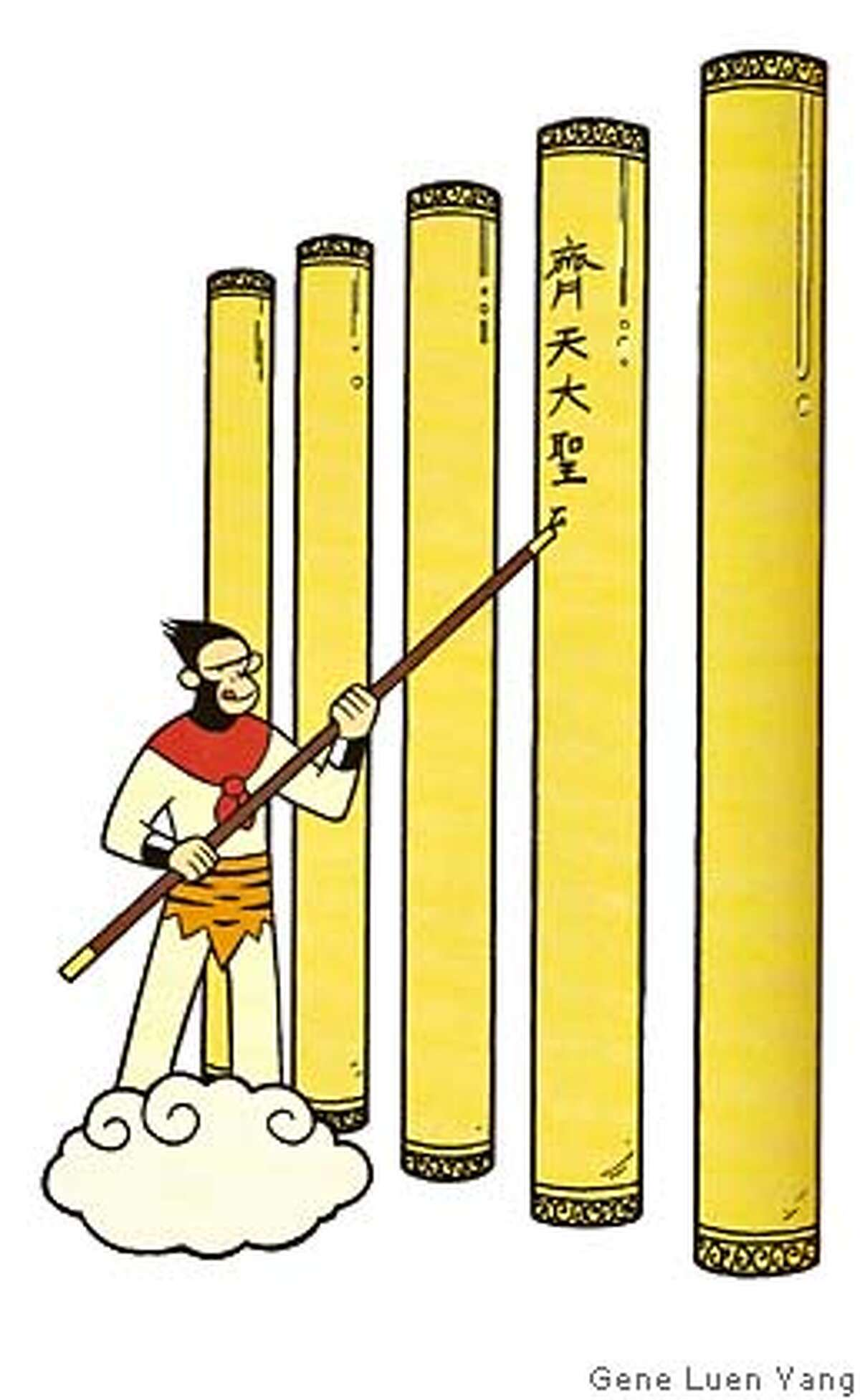 """This is an image scanned from the graphic novel """"American Born Chinese"""" by Gene Luen Yang. One of the interrelated three stories in this book about assimilation involves a retelling of the old Chinese fable of the Monkey King, who is depicted here mischievously leaving his mark on one of five golden pillars he finds at the edge of all existence. Copyright 2006 by Gene Luen Yang"""