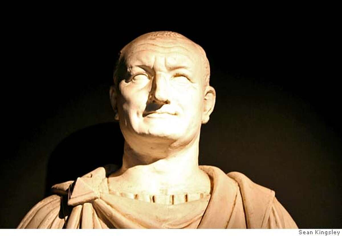 Bust of the emperor Vespasian, the Roman ruler who ordered the destruction of Jerusalem's Temple and plunder of its treasures in AD 70. He then built the Colosseum from its loot and the Temple of Peace in Rome, where the menorah and other Biblical icons were publicly exhibited for over 300 years. Photo: Museum of Roman Civilisation, Rome. (This is actually a mould cast made from the original, photo: Sean Kingsley)