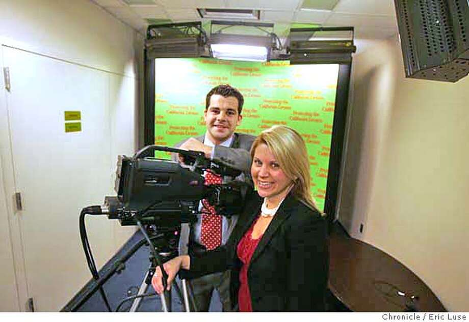 "gov22079_el.jpg  Matt David,27, Rapid Response Director and Katie Levinson,Campaign Communications Director in the fiber optic connected studio at the headquarters with a backdrop of ""Protecting the California Dream""  Gov. Schwarzenegger's campaign headquarters is using unprecendented techniques to respond to allegations by his opponent during the upcoming election. Eric Luse/The Chronicle Names (cq) from source MANDATORY CREDIT FOR PHOTOG / Photo: Eric Luse"