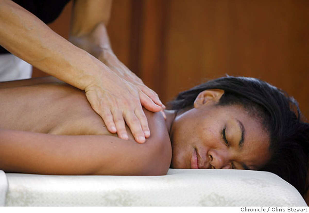 spa22_501_cs.jpg Event on 9/18/06 in Freestone. Model Adjoa Middleton (cq) receives a massage in a pagoda by massage therapist Janice Morikawa at Osmosis The Enzyme Bath Spa in Freestone, Sonoma County. Chris Stewart / The Chronicle Osmosis The Enzyme Bath Spa MANDATORY CREDIT FOR PHOTOG AND SF CHRONICLE/ -MAGS OUT
