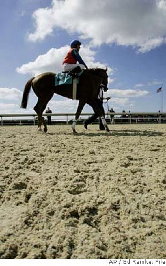 Lordly, with jockey Rafael Bejarno up, is led around the new Keeneland Polytrack surface before entering the winner's circle after winning the inaugural race on the surface Friday, Oct. 6, 2006, in Lexington, Ky. (AP Photo/Ed Reinke) EFE OUT Photo: ED REINKE