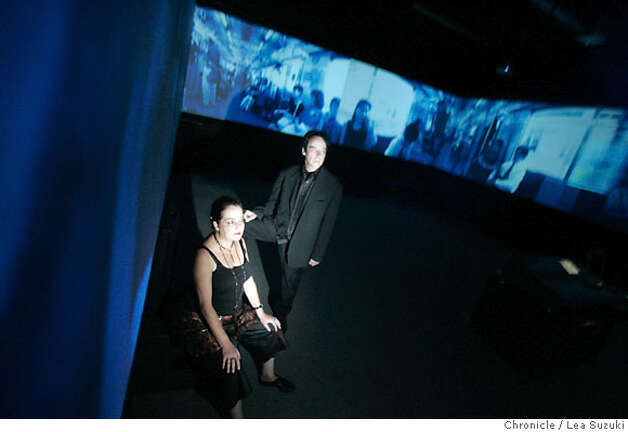 digital_67_ls.JPG  From right: Naut Humon and Mitzi Johnson of Recombinant Media Labs in their RML theater on October 2, 2006, Monday.  Photo by Lea Suzuki/The San Francisco Chronicle  Photo taken on 10/2/06, in San Francisco, CA. **(roster) cq. Ran on: 10-22-2006  Naut Humon (right) and Mitzi Johnson in Recombinant Media Labs' innovative, immersive digital theater. Photo: Lea Suzuki
