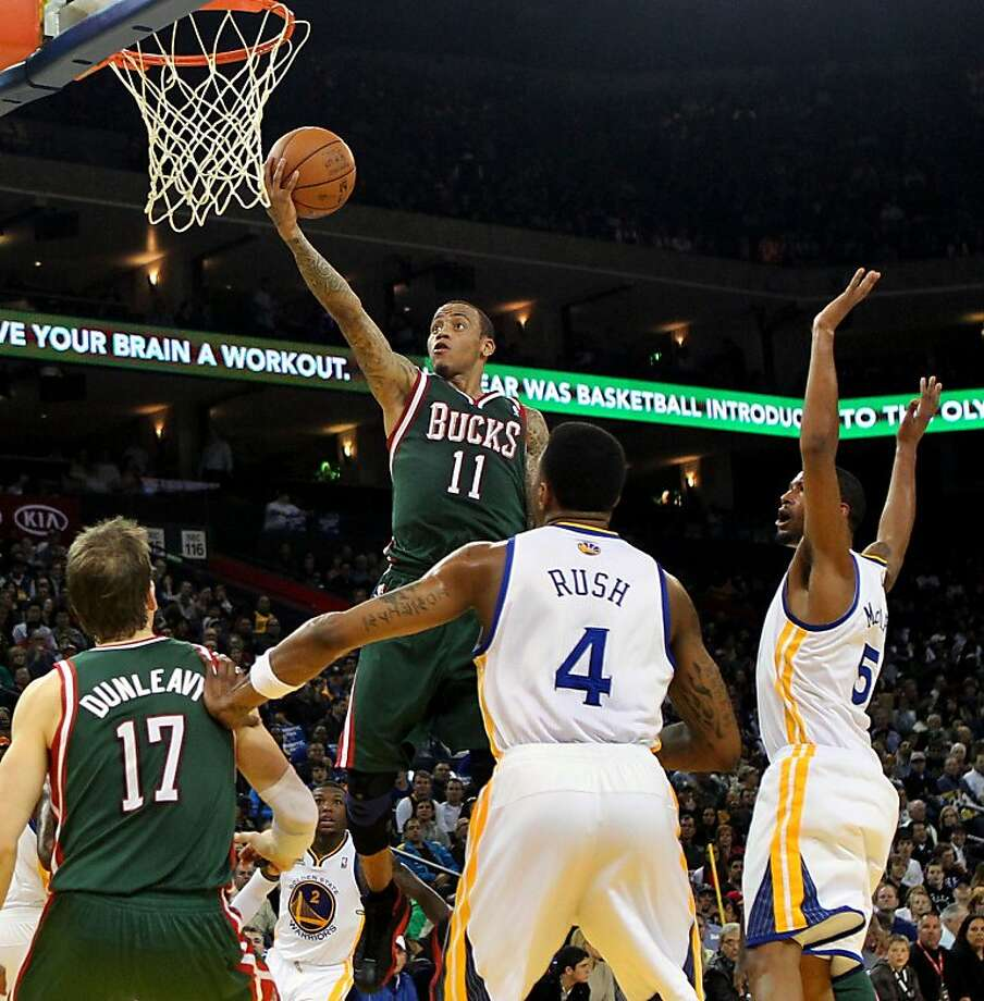 Milwaukee Bucks' Monta Ellis scores over his old teammates during the first half of their game NBA basketball game with Golden State Warriors, Friday, March 16, 2012, in Oakland, Calif. Photo: Lance Iversen, The Chronicle
