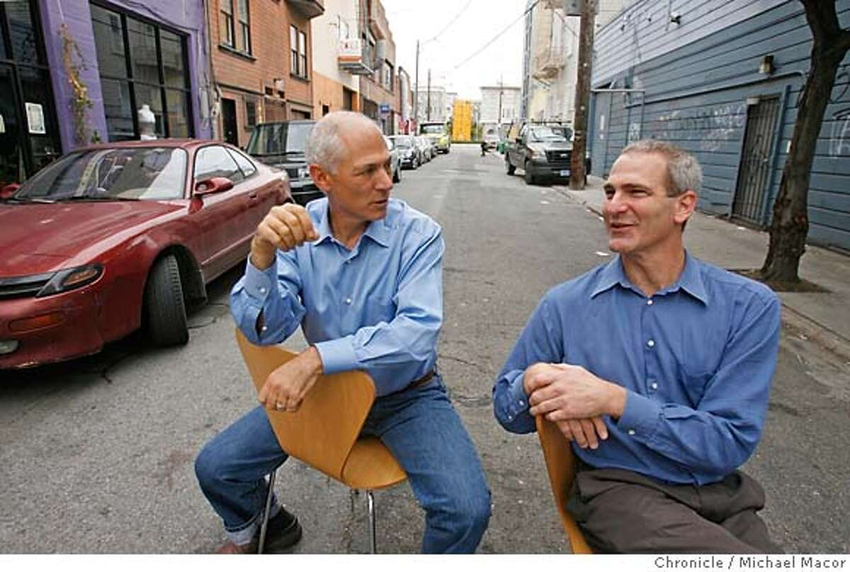 .jpg Loring, (left) and David have big plans for Linden Alley between octavia and Gough Sts. Loring Sagan and David Winslow are architects with offices in Linden St. Winslow is an expert on alleys and their uses, and the pair has received a grant to make their block of Linden into an