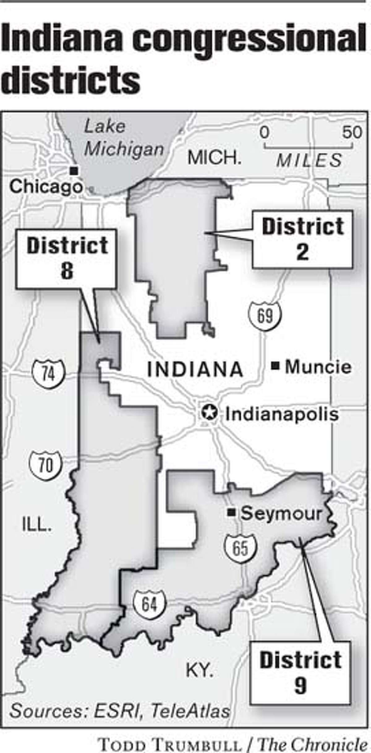 Indiana Congressional Districts. Chronicle graphic by Todd Trumbull